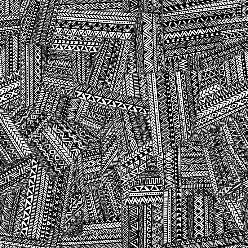 άνευ ραφής φυλετικός προ&t Γεωμετρικό χέρι διακοσμήσεων που σύρεται Ο Μαύρος απεικόνιση αποθεμάτων