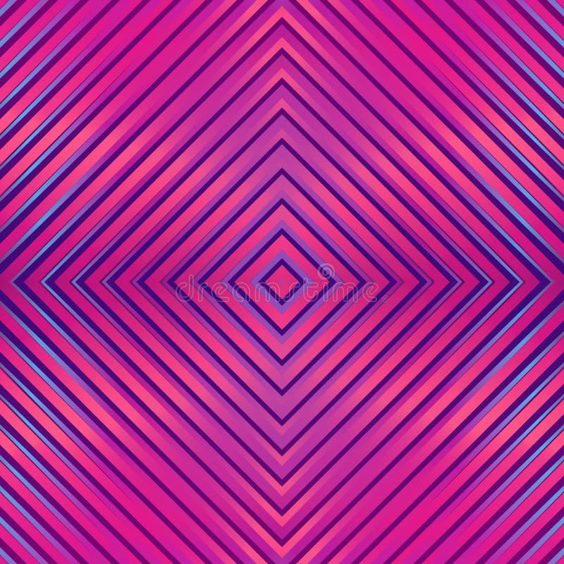 Άνευ ραφής φωτεινό αφηρημένο σχέδιο Γεωμετρική τυπωμένη ύλη που αποτελείται από τα τετραγωνικά πορφυρά, ρόδινα, μπλε χρώματα γραμ διανυσματική απεικόνιση