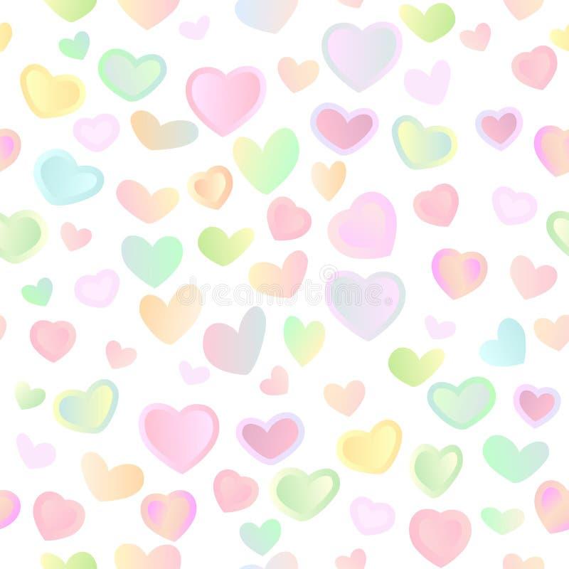 Άνευ ραφής φωτεινό εορταστικό υπόβαθρο με τις πολύχρωμες καρδιές απεικόνιση αποθεμάτων