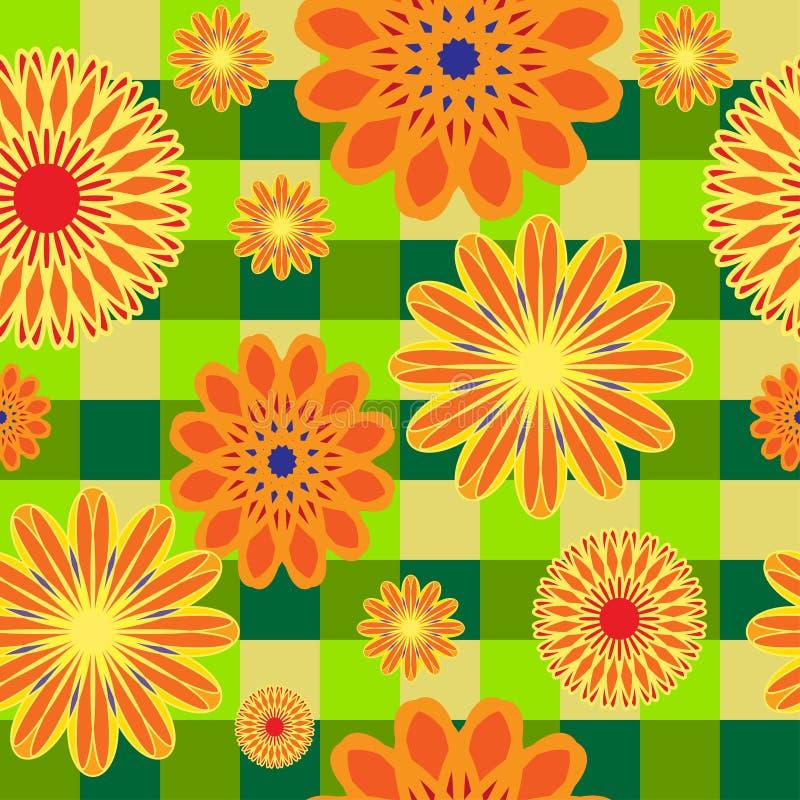 Άνευ ραφής φωτεινό σχέδιο των πορτοκαλιών λουλουδιών σε ένα πράσινο ελεγμένο υπόβαθρο ελεύθερη απεικόνιση δικαιώματος
