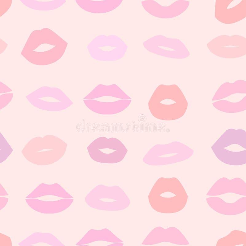 Άνευ ραφής φωτεινό υπόβαθρο με τα ζωηρόχρωμα θηλυκά χείλια διανυσματική απεικόνιση