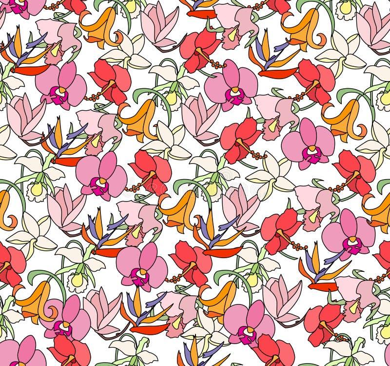 Άνευ ραφής φωτεινό floral σχέδιο με τα διαφορετικά εξωτικά τροπικά λουλούδια Ατελείωτη σύσταση απεικόνιση αποθεμάτων