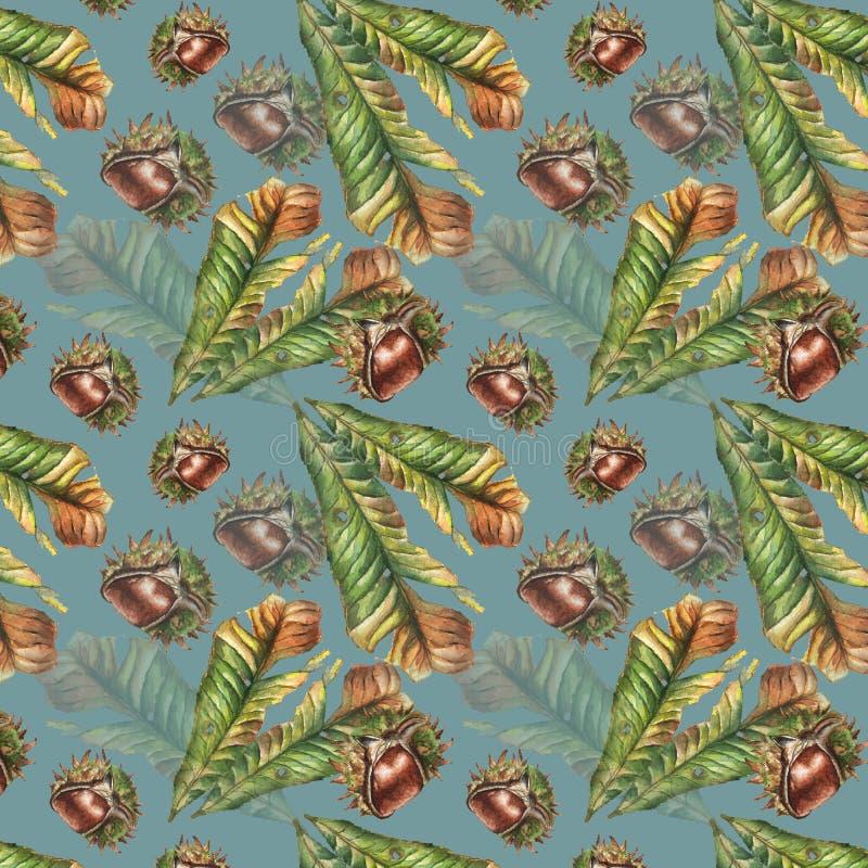 Άνευ ραφής φύλλο κάστανων watercolor και σχέδιο καρυδιών στοκ φωτογραφία με δικαίωμα ελεύθερης χρήσης