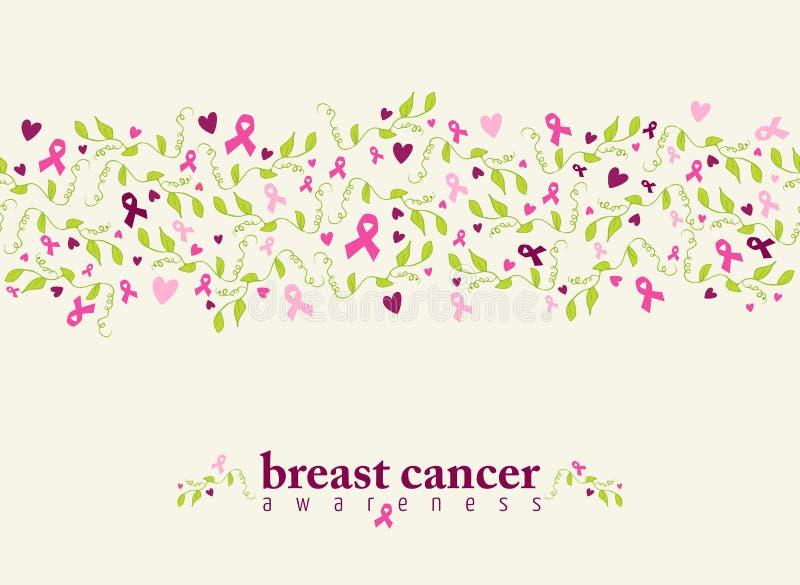Άνευ ραφής φύση καρδιών κορδελλών σχεδίων καρκίνου του μαστού ελεύθερη απεικόνιση δικαιώματος