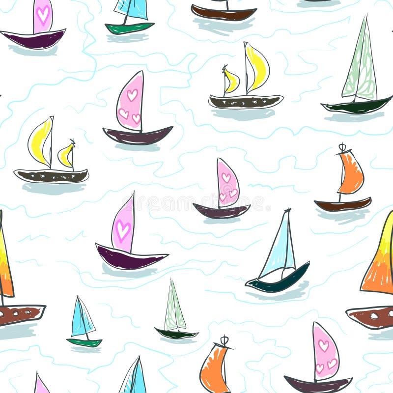 Άνευ ραφής χέρι σχεδίων παιδιών μωρών που σύρει το ζωηρόχρωμο διάνυσμα γιοτ Πολλές μικρές χρωματισμένες βάρκες πανιών στο άσπρο υ διανυσματική απεικόνιση