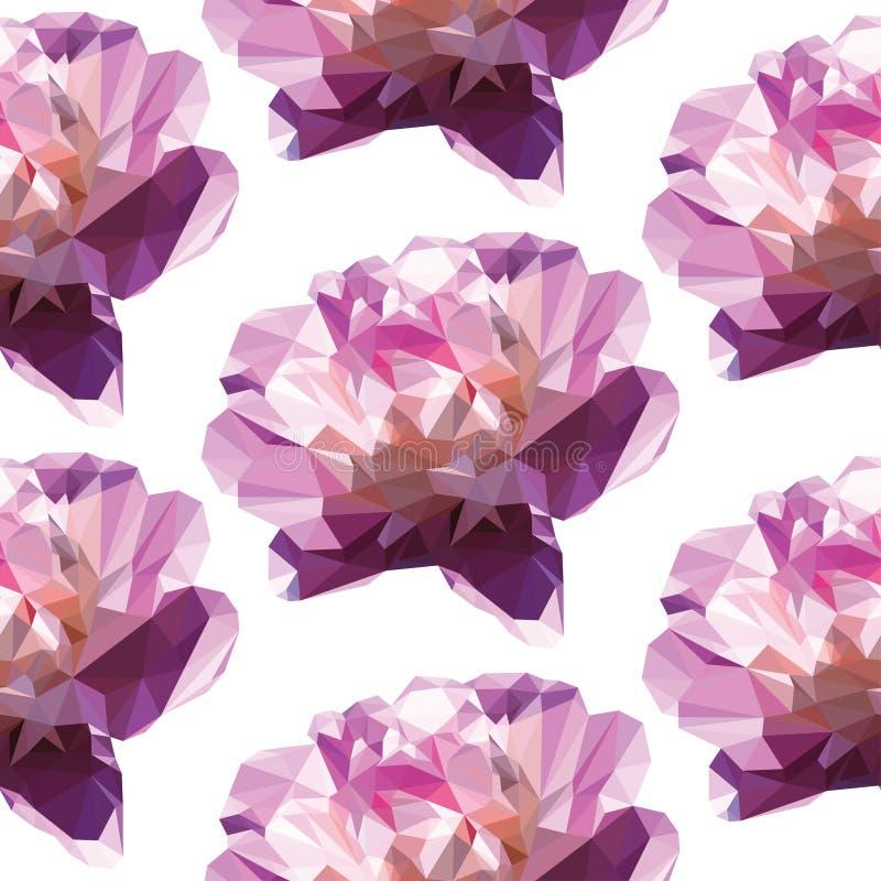Άνευ ραφής χαμηλό πολυ ρόδινο λουλούδι σχεδίων Μεγάλος όμορφος χαμηλός πολυ peony στοκ φωτογραφίες με δικαίωμα ελεύθερης χρήσης
