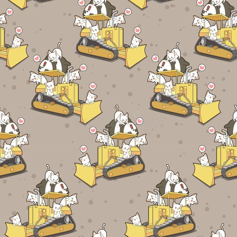 Άνευ ραφής χαριτωμένα γάτες και panda στο σχέδιο τρακτέρ απεικόνιση αποθεμάτων