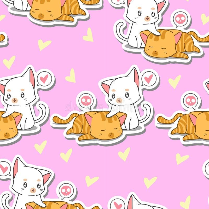 Άνευ ραφής 2 χαριτωμένες γάτες παίρνουν την προσοχή το σχέδιο φίλων τη διανυσματική απεικόνιση