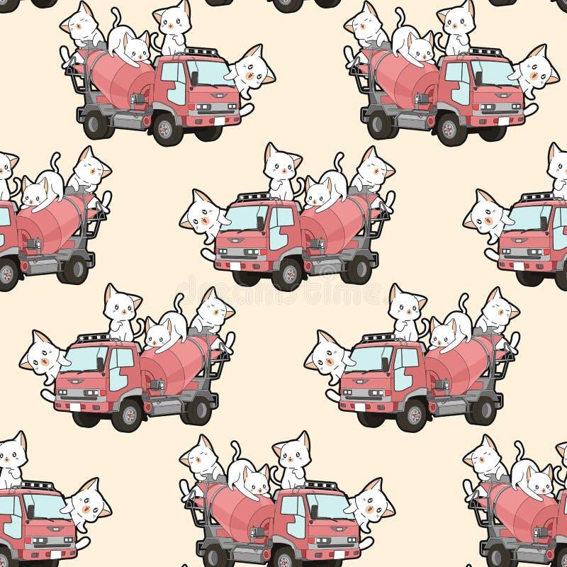 Άνευ ραφής χαριτωμένες γάτες στο σχέδιο φορτηγών αναμικτών τσιμέντου απεικόνιση αποθεμάτων