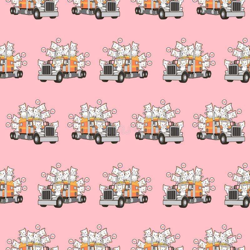 Άνευ ραφής χαριτωμένες γάτες στο σχέδιο φορτηγών απεικόνιση αποθεμάτων