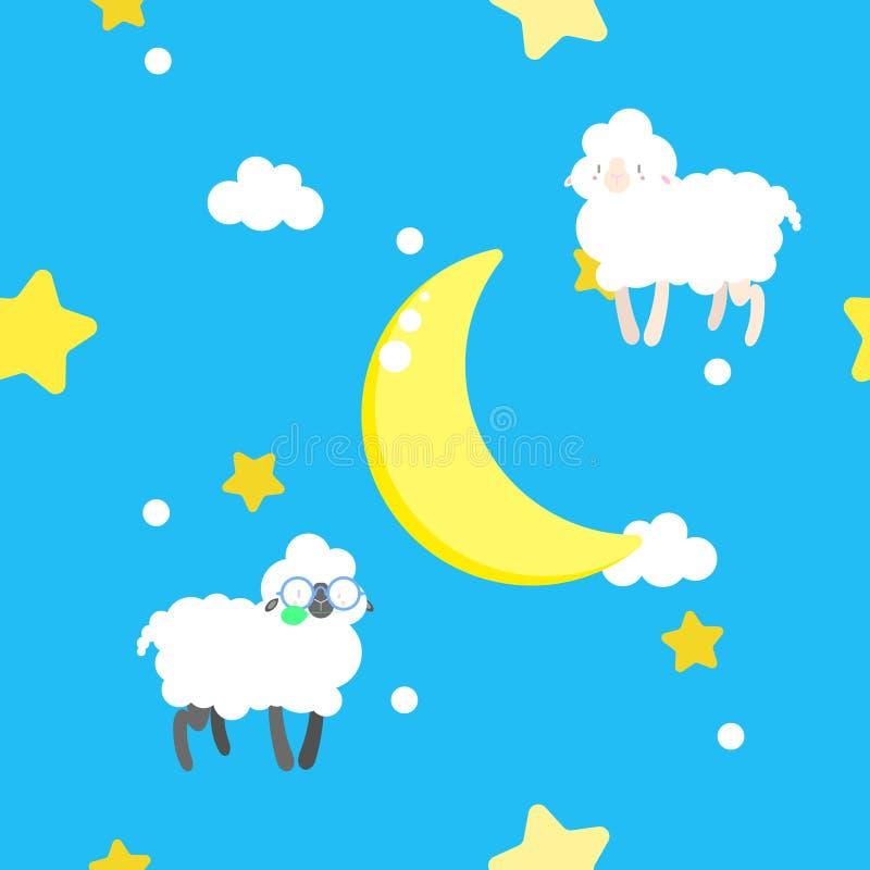 Άνευ ραφής χαριτωμένος, γλυκός, ζωηρόχρωμος, ζωική άγρια φύση κρητιδογραφιών με τα πρόβατα, αστέρι, φεγγάρι, σύννεφο στον ουρανό  ελεύθερη απεικόνιση δικαιώματος