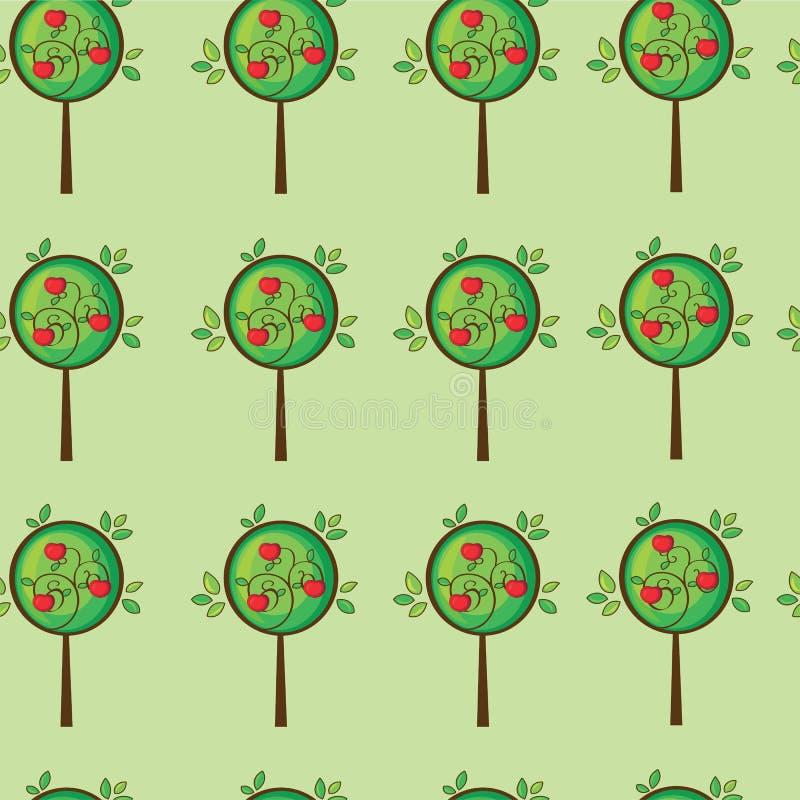 Άνευ ραφής χαριτωμένο δέντρο μηλιάς διανυσματική απεικόνιση