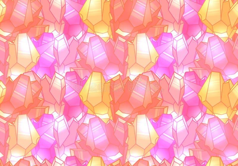 Άνευ ραφής χαριτωμένο σχέδιο με τα πολύχρωμα ρόδινα κρύσταλλα με τα κυριώτερα σημεία διανυσματική απεικόνιση