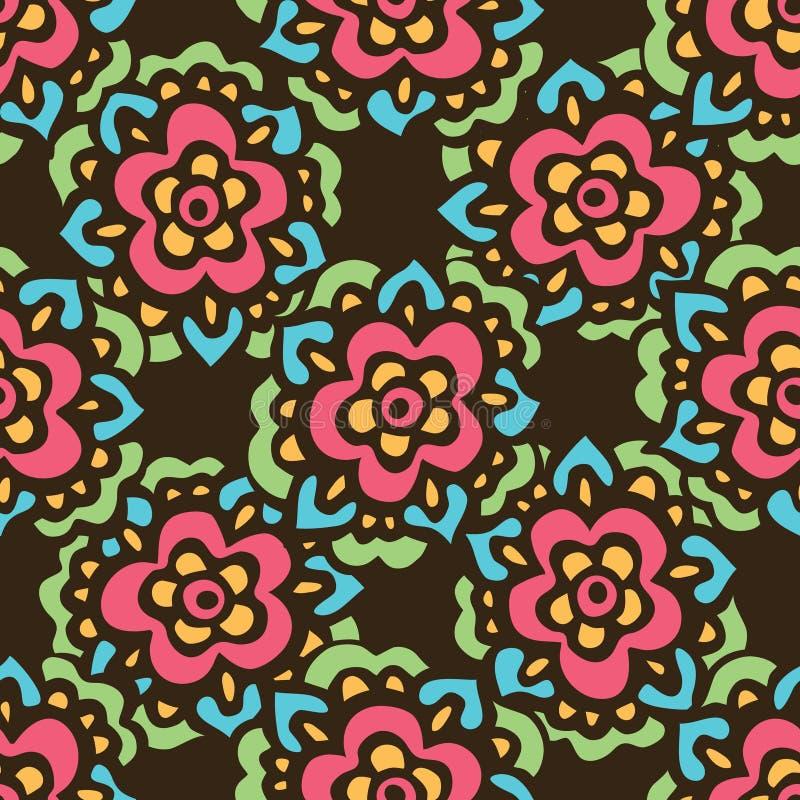 Άνευ ραφής χαριτωμένο σχέδιο λουλουδιών doodle διανυσματικό απεικόνιση αποθεμάτων
