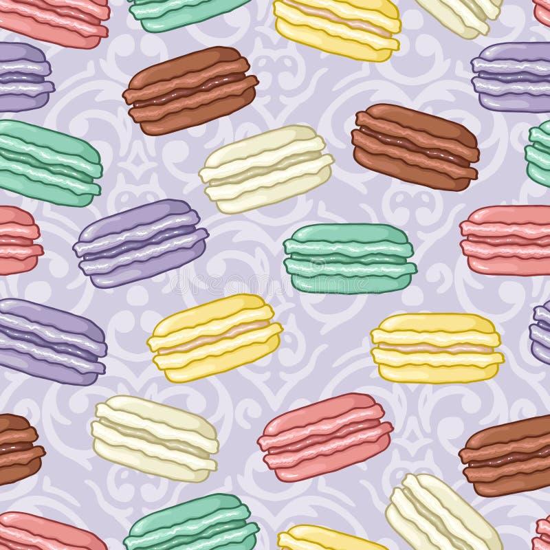 Άνευ ραφής χαριτωμένο σχέδιο macarons ελεύθερη απεικόνιση δικαιώματος