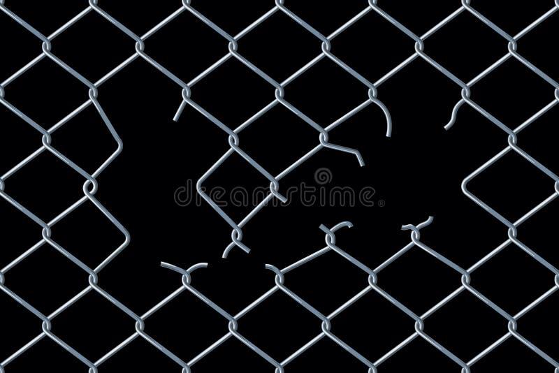 Άνευ ραφής χαλασμένος φράκτης αλυσίδα-συνδέσεων διανυσματική απεικόνιση