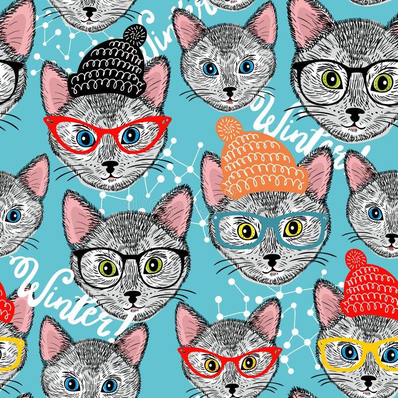 Άνευ ραφής χειμερινό σχέδιο με τη γάτα στο καπέλο διανυσματική απεικόνιση
