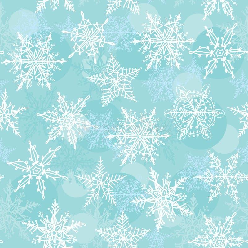 Άνευ ραφής χειμερινό υπόβαθρο με snowflakes διάνυσμα ελεύθερη απεικόνιση δικαιώματος