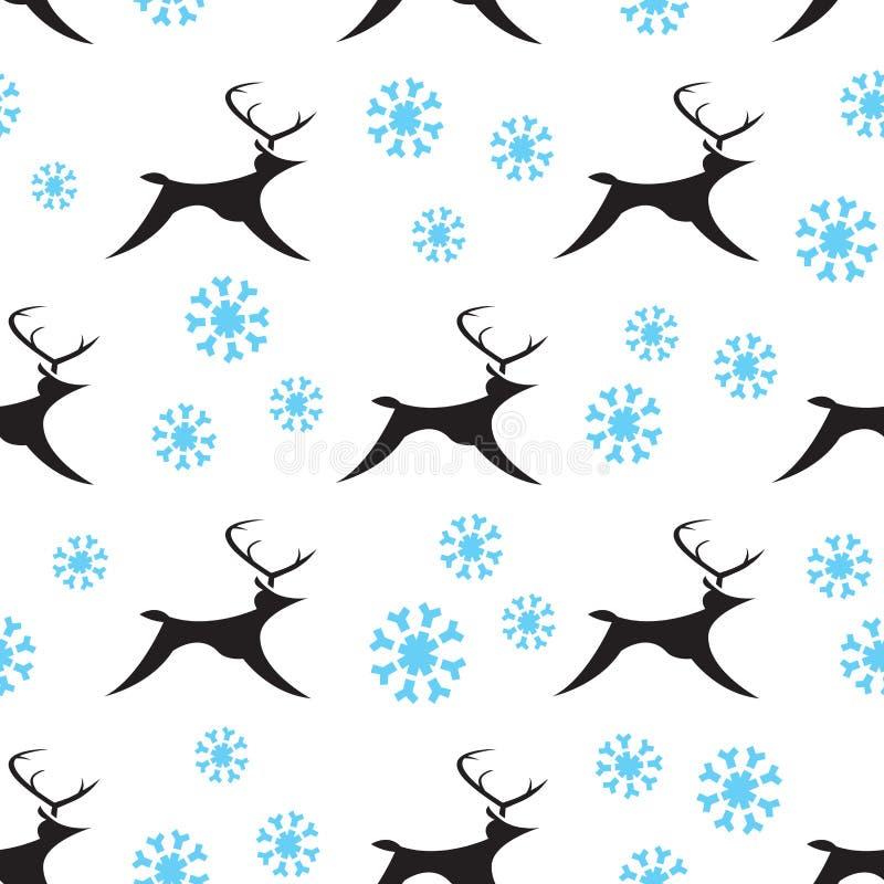 Άνευ ραφής χιονώδεις τάρανδοι ελεύθερη απεικόνιση δικαιώματος