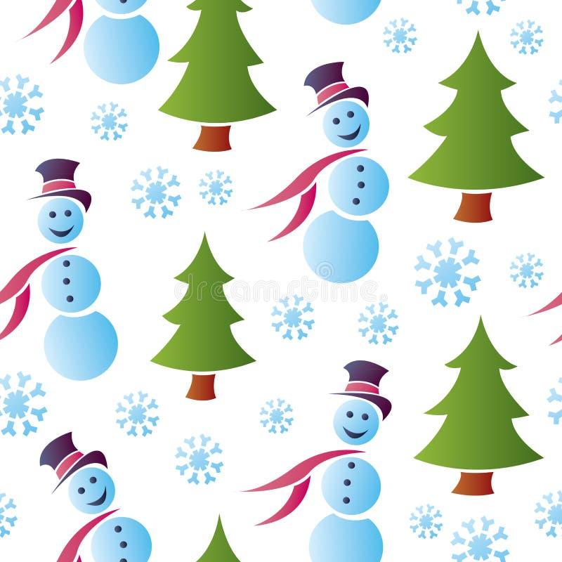 Άνευ ραφής χιονώδεις χιονάνθρωποι διανυσματική απεικόνιση