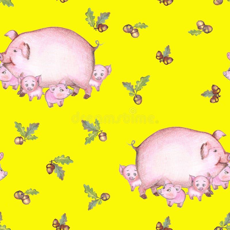 Άνευ ραφής χοίρος σχεδίων και 4 χοίροι με τα βελανίδια σε ένα κίτρινο υπόβαθρο χειροποίητος διανυσματική απεικόνιση
