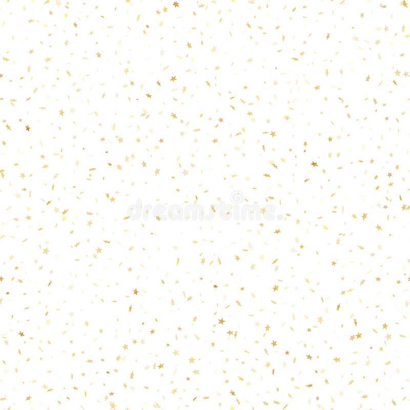 Άνευ ραφής χρυσή αστεριών κομφετί επίδραση σχεδίων βροχής εορταστική Χρυσά αστέρια όγκου που πέφτουν κάτω από απομονωμένος στο άσ διανυσματική απεικόνιση
