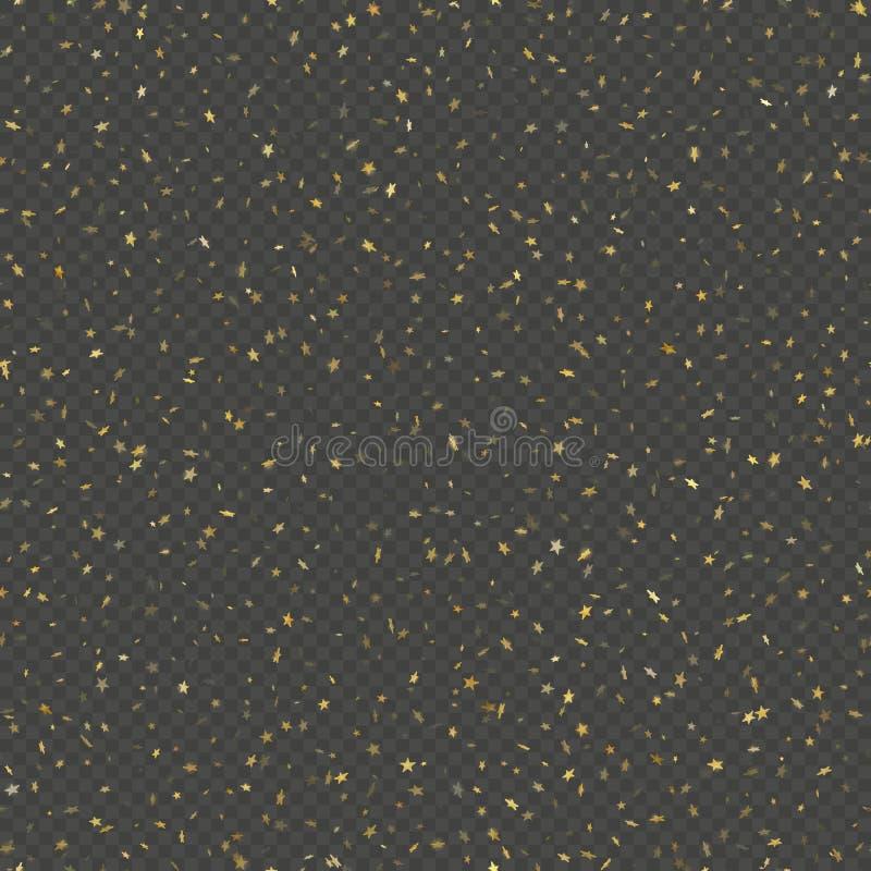 Άνευ ραφής χρυσή αστεριών κομφετί επίδραση σχεδίων βροχής εορταστική Χρυσά αστέρια όγκου που πέφτουν κάτω από απομονωμένος σε δια απεικόνιση αποθεμάτων