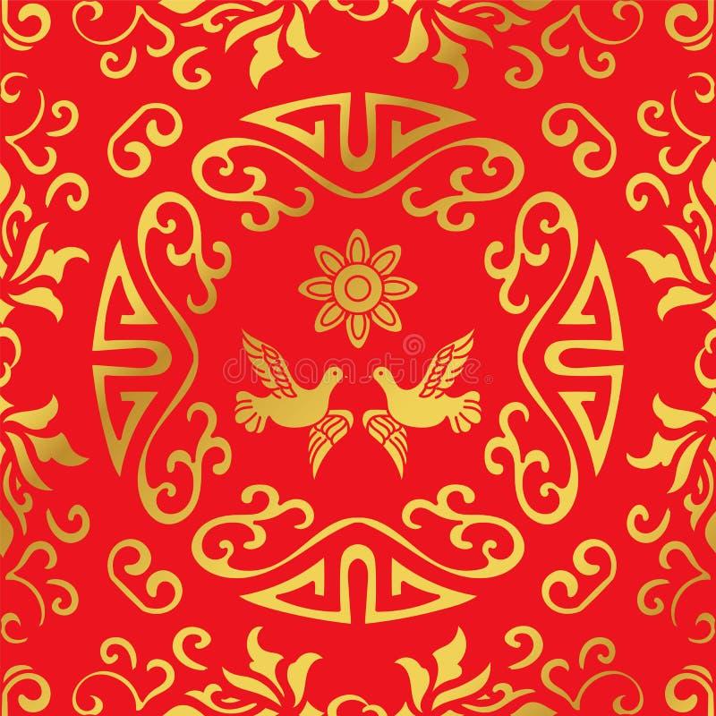 Άνευ ραφής χρυσή κινεζική σπείρα υποβάθρου γύρω από το λουλούδι περιστεριών πλαισίων απεικόνιση αποθεμάτων