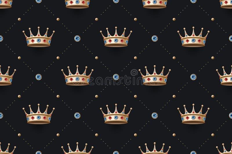 Άνευ ραφής χρυσή κορώνα ομιλίας και βασιλιάδων με το διαμάντι απεικόνιση αποθεμάτων