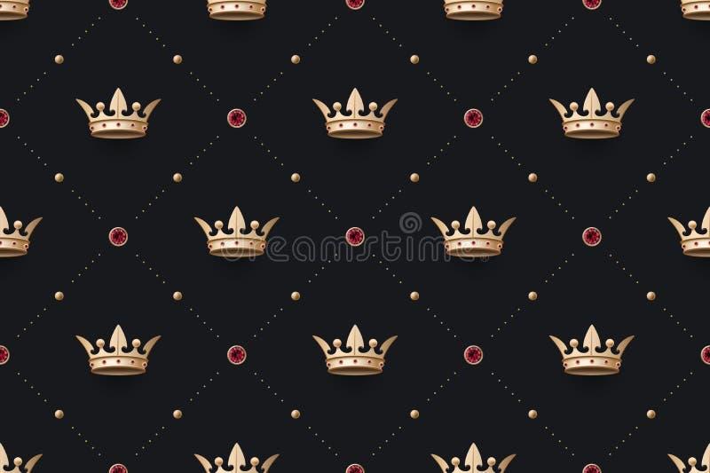 Άνευ ραφής χρυσή κορώνα ομιλίας και βασιλιάδων με το διαμάντι ελεύθερη απεικόνιση δικαιώματος