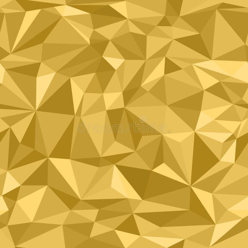 Άνευ ραφής χρυσό αφηρημένο σχέδιο Μίμηση της τυπωμένης ύλης του χρυσού τσαλακωμένου εγγράφου που αποτελείται από τα τρίγωνα και τ απεικόνιση αποθεμάτων