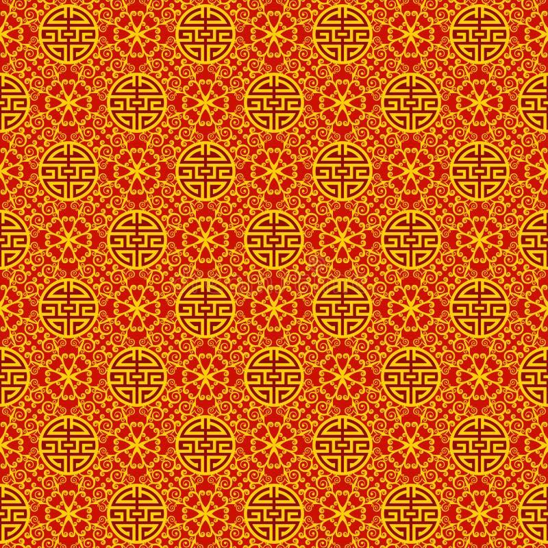 Άνευ ραφής χρυσό και κόκκινο σχέδιο με τα σύμβολα Περίκομψο ασιατικό υπόβαθρο για τους χαιρετισμούς, προσκλήσεις, τυλίγοντας έγγρ ελεύθερη απεικόνιση δικαιώματος