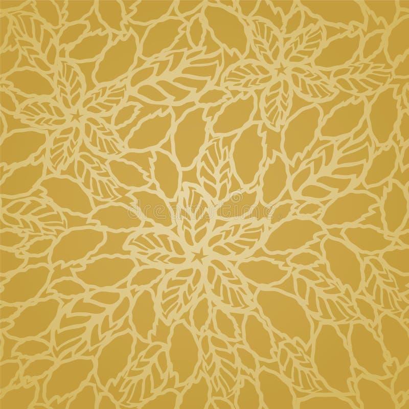 Άνευ ραφής χρυσό σχέδιο ταπετσαριών δαντελλών φύλλων και λουλουδιών διανυσματική απεικόνιση