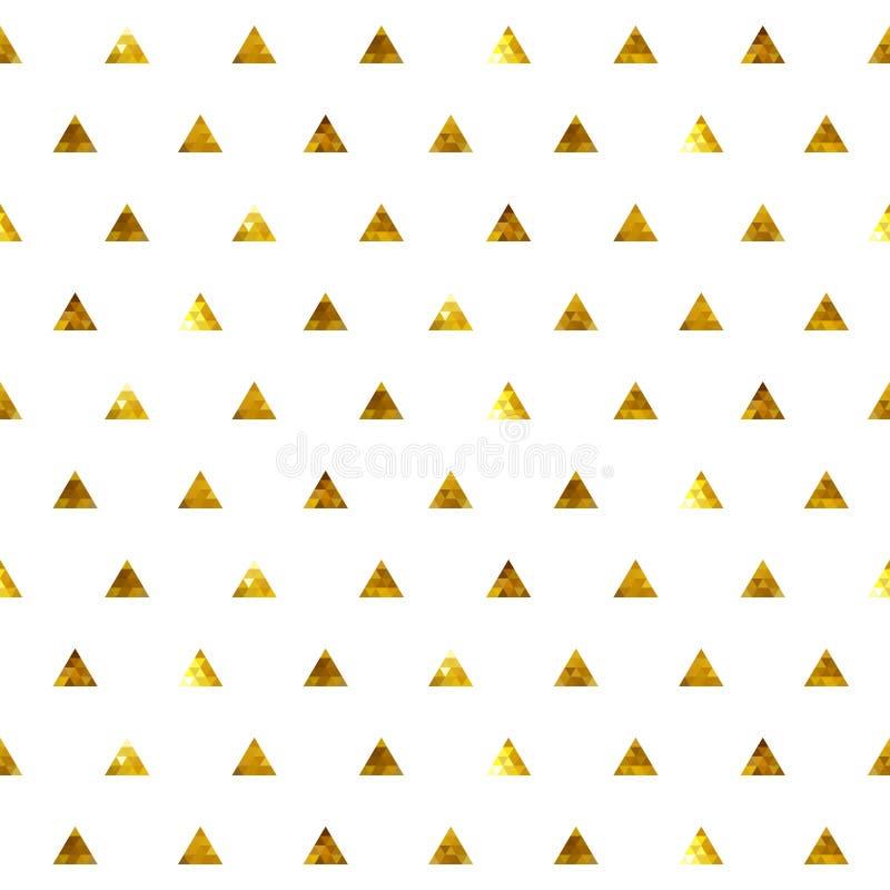 Άνευ ραφής χρυσό σχέδιο τριγώνων σημείων Πόλκα διανυσματική απεικόνιση