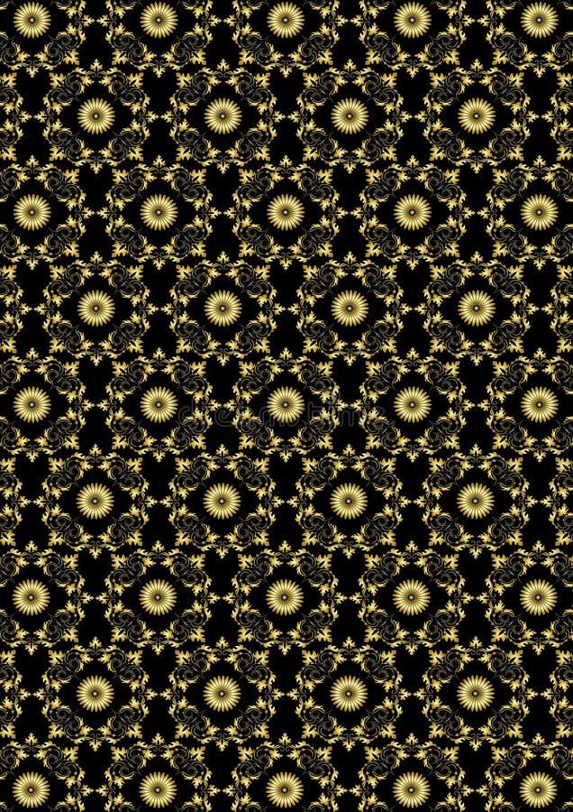 Άνευ ραφής χρυσό floral σχέδιο στο μαύρο υπόβαθρο ελεύθερη απεικόνιση δικαιώματος
