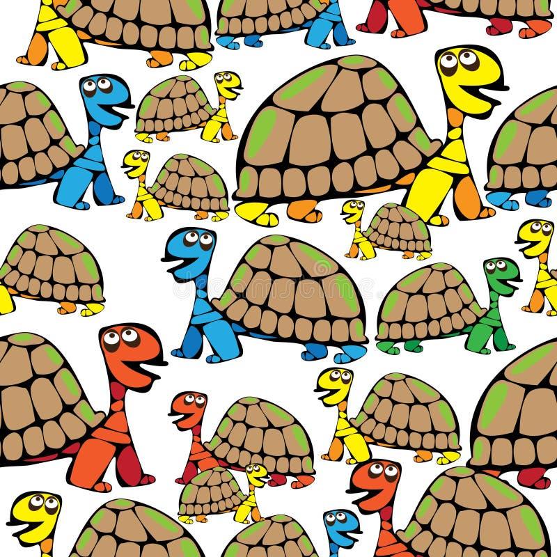 Άνευ ραφής χρωματισμένη σχέδιο χελώνα διανυσματική απεικόνιση
