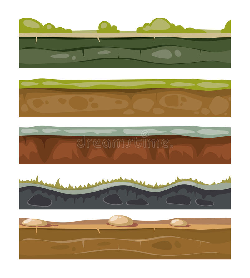 Άνευ ραφής χώμα και χλόη λόγων για τα διανυσματικά στρώματα παιχνιδιών ui καθορισμένα απεικόνιση αποθεμάτων