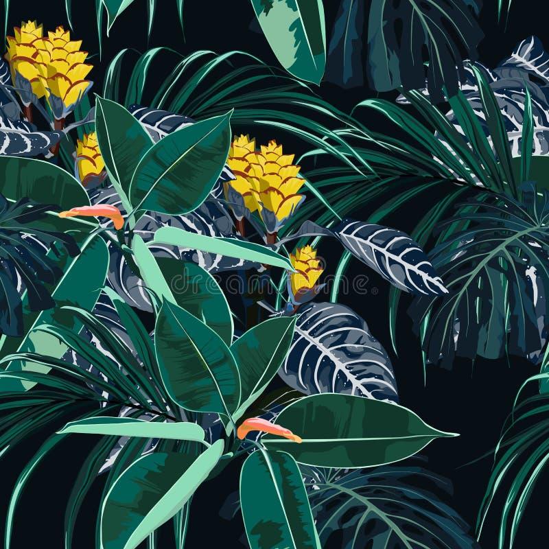 Άνευ ραφής όμορφο καλλιτεχνικό φωτεινό θερινό τροπικό σχέδιο τυπωμένων υλών της Χαβάης με τις εξωτικές δασικές εγκαταστάσεις απεικόνιση αποθεμάτων