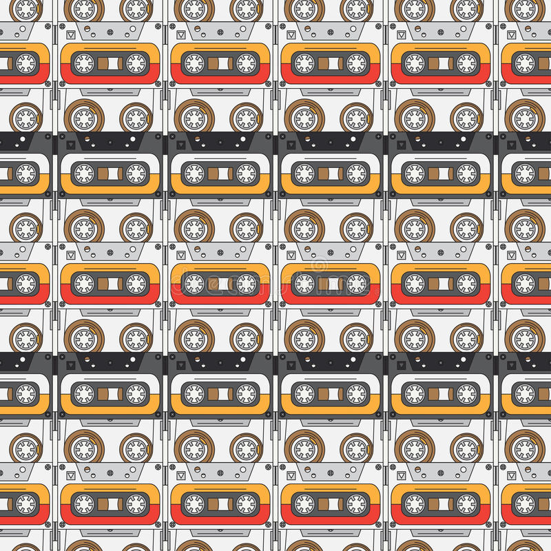 Άνευ ραφής ύφος σχεδίων υποβάθρου hipster με την κασέτα ηχογράφησης μουσική ήχος αναδρομικός Μαγνητική ταινία Αναλογικά πολυμέσα διανυσματική απεικόνιση