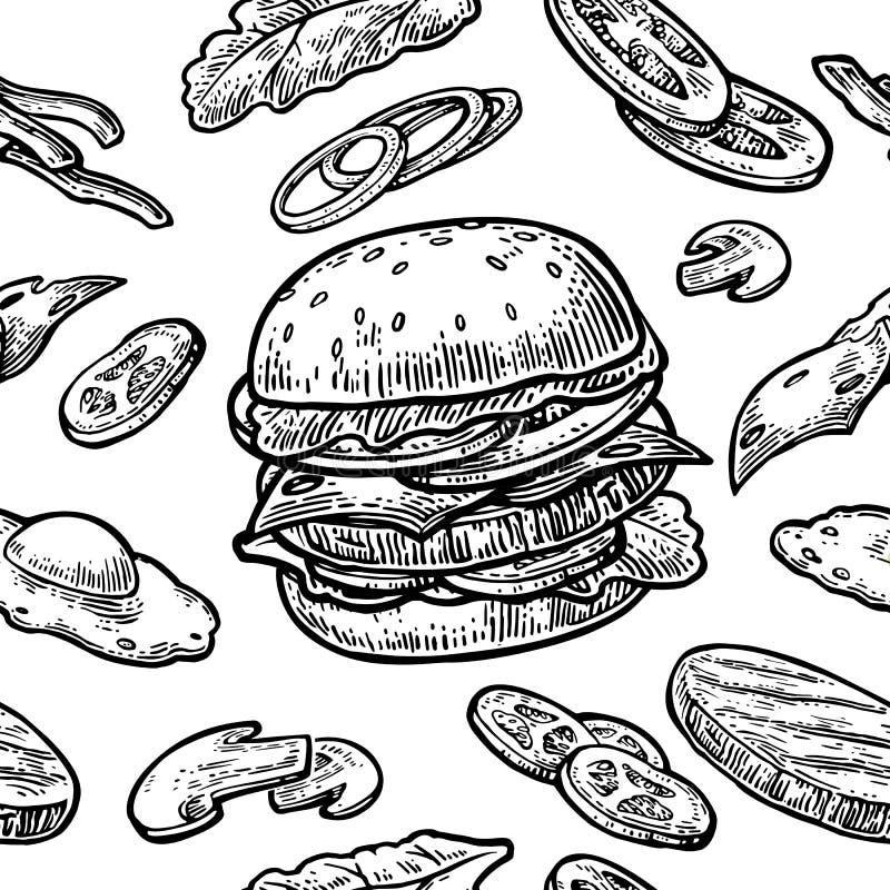 Άνευ ραφής burger σχεδίων περιλαμβάνει cutlet, την ντομάτα, το αγγούρι και τη σαλάτα διανυσματική απεικόνιση