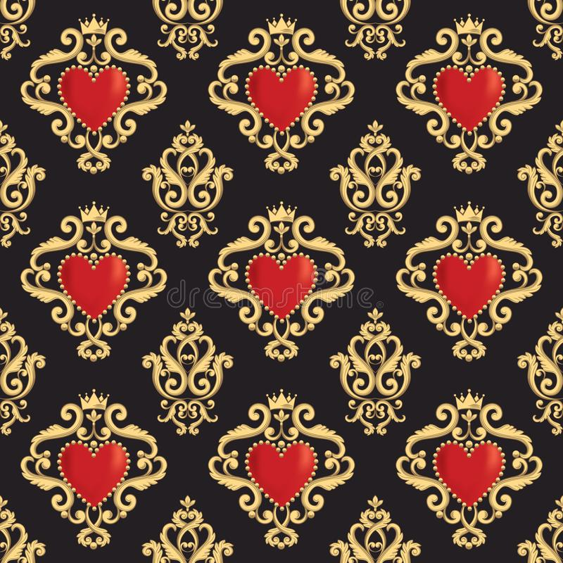 Άνευ ραφής damask σχέδιο με την όμορφη διακοσμητική κόκκινη καρδιά s με την κορώνα στο μαύρο υπόβαθρο επίσης corel σύρετε το διάν διανυσματική απεικόνιση