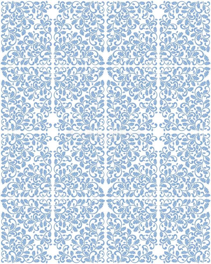 Άνευ ραφής damask σχέδιο με τα δρύινα φύλλα Πλούσια διακόσμηση, τρύγος ελεύθερη απεικόνιση δικαιώματος