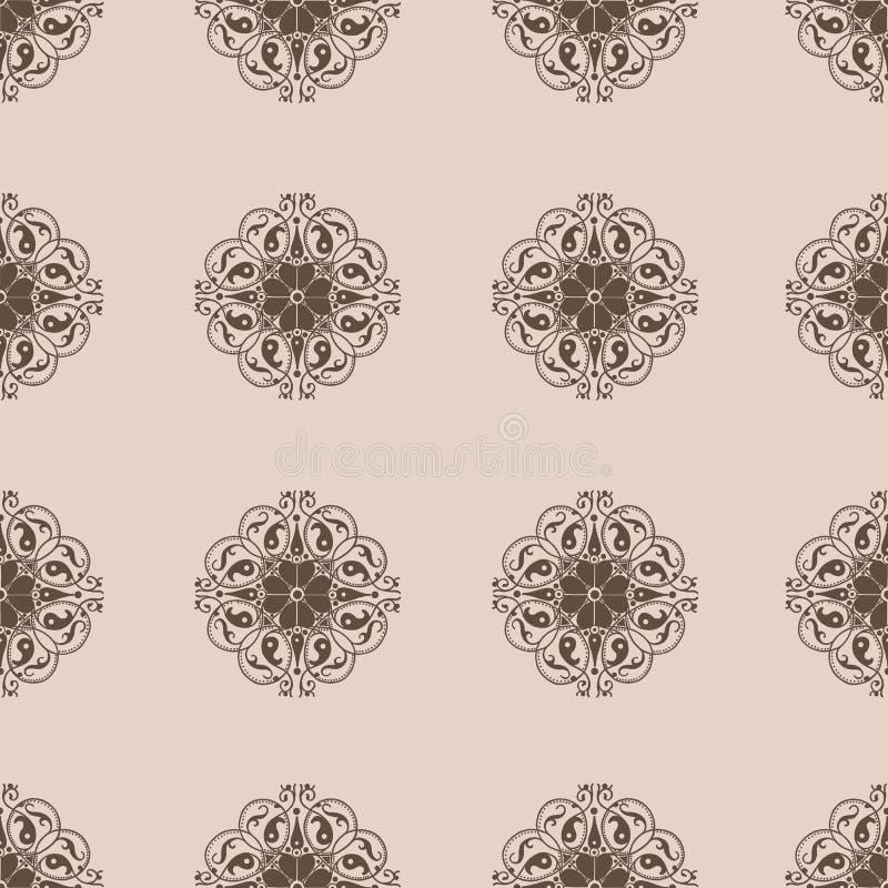 Άνευ ραφής Damask wallpapern διανυσματική απεικόνιση