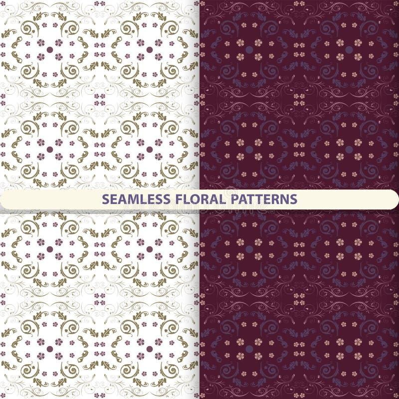 Άνευ ραφής floral διανυσματικά σχέδια με τα floral και βοτανικά στοιχεία Παιδιών, κλωστοϋφαντουργικά προϊόντα κουζινών, τυπωμένη  διανυσματική απεικόνιση