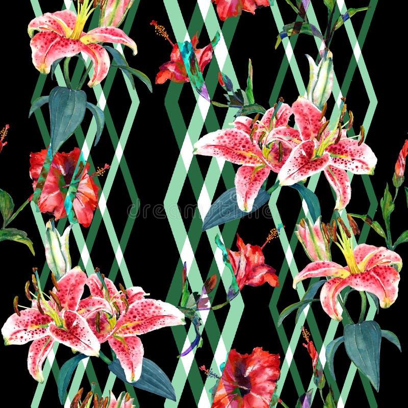 Άνευ ραφής floral κρίνοι σχεδίων ελεύθερη απεικόνιση δικαιώματος