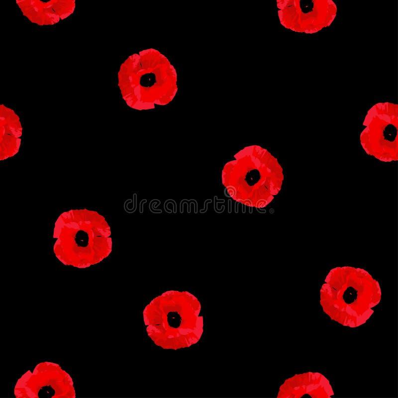 Άνευ ραφής floral μικρά λουλούδια παπαρουνών σχεδίων κόκκινα στο Μαύρο ελεύθερη απεικόνιση δικαιώματος