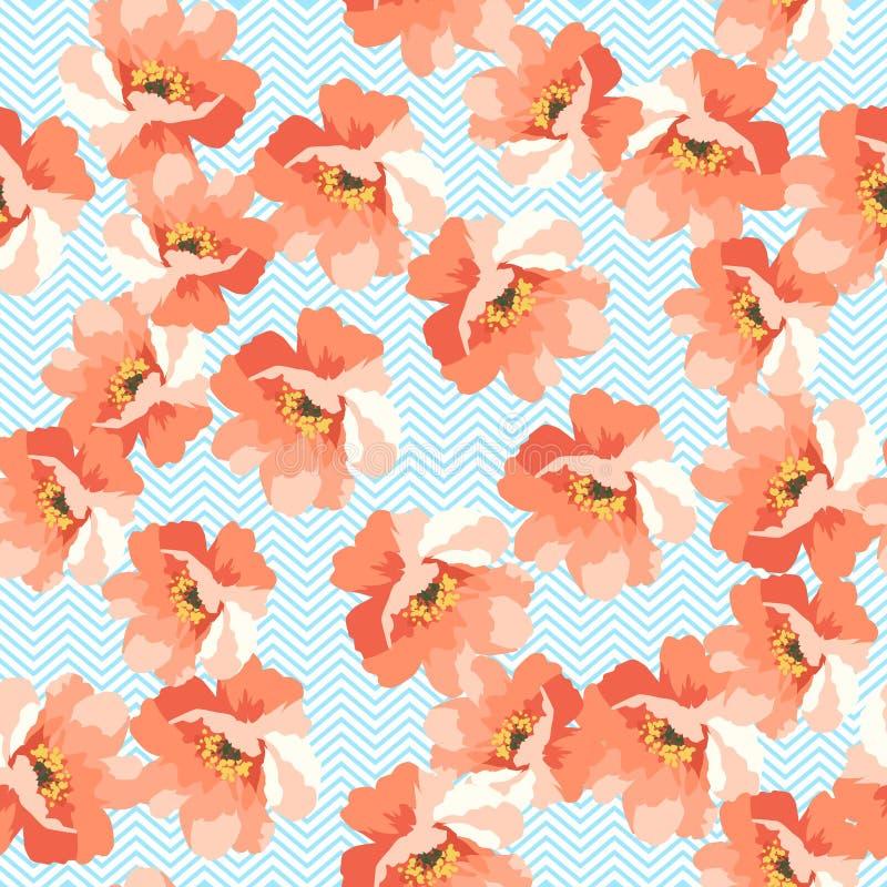Άνευ ραφής floral ομιλία με τα μπλε λουλούδια διανυσματική απεικόνιση