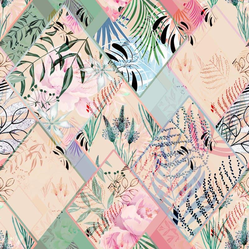 Άνευ ραφής floral προσθήκη στα χρώματα κρητιδογραφιών διανυσματική απεικόνιση