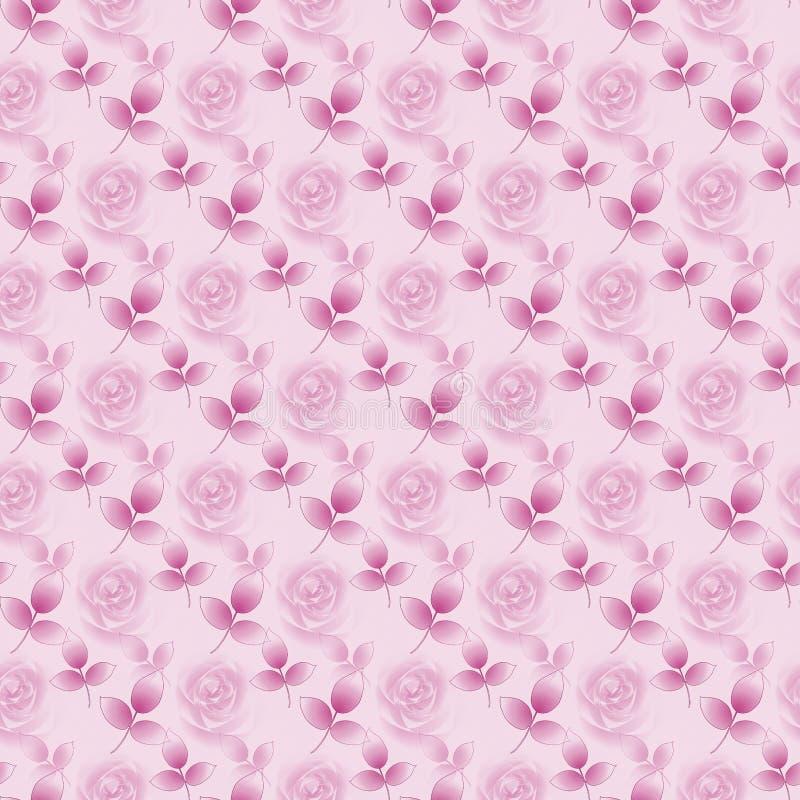 Άνευ ραφής floral ρόδινη βιολέτα μπουμπουκιών τριαντάφυλλου και φύλλων σχεδίων αφηρημένη διαγώνια διανυσματική απεικόνιση