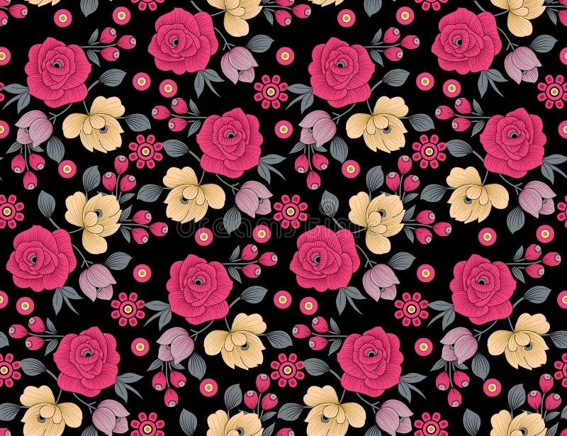 Άνευ ραφής floral σχέδιο λουλουδιών με το μαύρο υπόβαθρο απεικόνιση αποθεμάτων